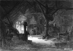 Interieur van een schuur met man en vrouw bij het vuur