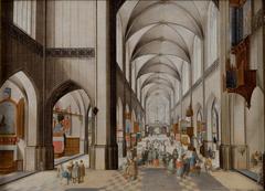 Interior of a Three-Aisled Gothic Church during a Sermon