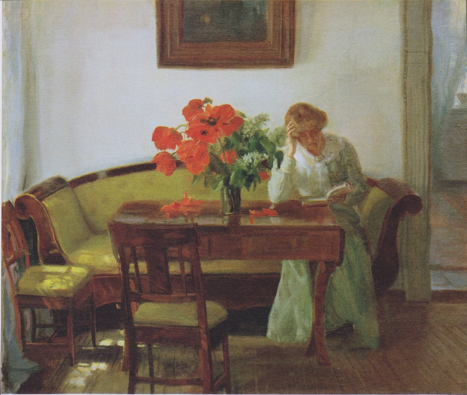 Interior with poppies and reading woman (Lizzy Hohlenberg)