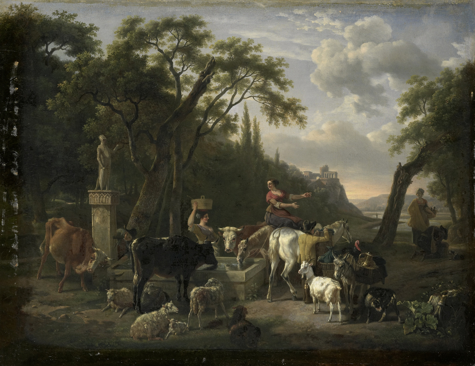 Italian Landscape with Shepherds and Animals at a Fountain