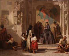 Jeune femme faisant la charité à l'entrée de la chapelle de l'hôpital San Sebastian à Cordoue
