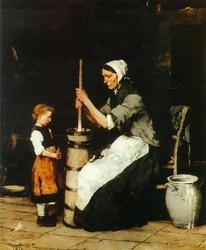 Köpülő asszony (Churning woman)