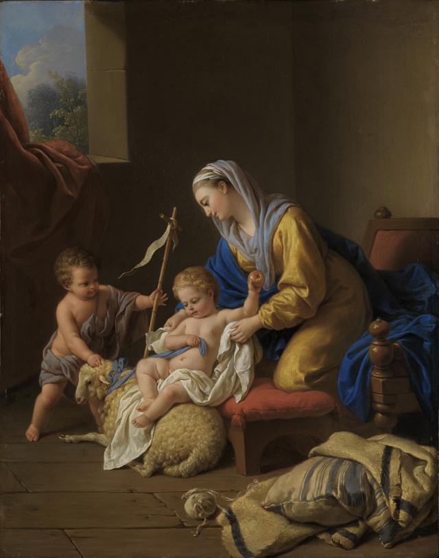 La Vierge amuse l'enfant Jésus, le petit Saint Jean avec un mouton