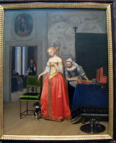 Lady with Servant and Dog