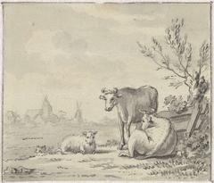 Landschap met man met koe