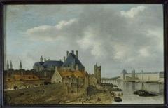 Le quartier du Petit Nesle avec l'Hôtel de Nevers, la tour de Nesle, la Grande Galerie du Louvre et le pont Royal (en bois), vus du Pont-Neuf