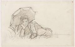 Liggende vrouw met parasol