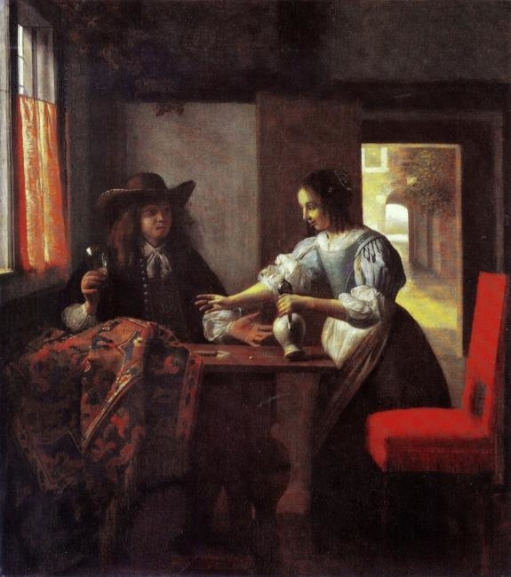 Man with a glass and a woman with a jug in an interior