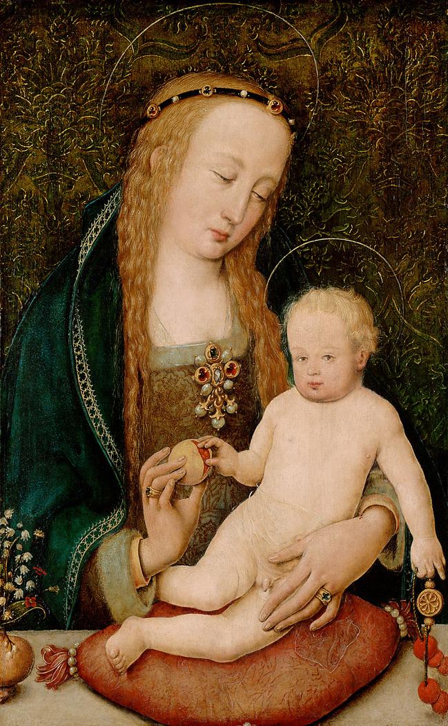 Maria, dem Kind einen Granatapfel reichend