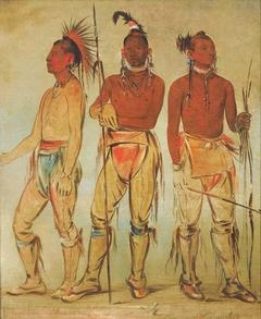 Mun-ne-pús-kee, He Who Is Not Afraid; Ko-ha-túnk-a, Big Crow; and Nah-cóm-ee-shee, Man of the Bed, Three Young Warriors