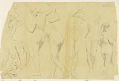 Negen studies naar vrouwelijk naakt, waarvan twee staande en face, en drie staande op de rug gezien