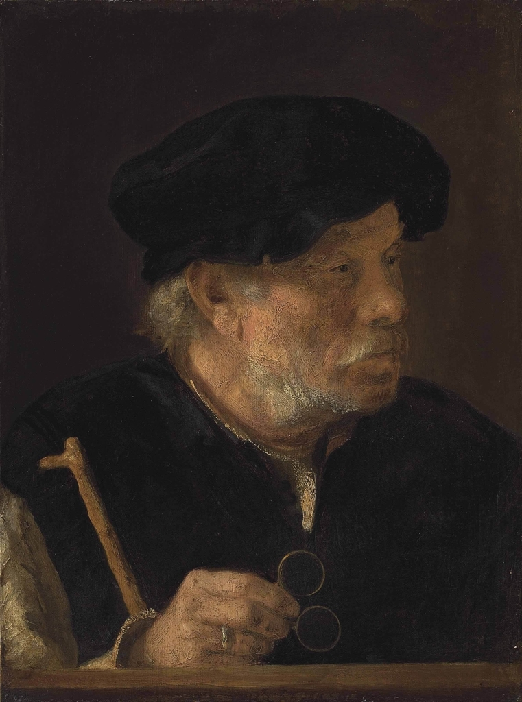 Old Man holding a Cane and Spectacles