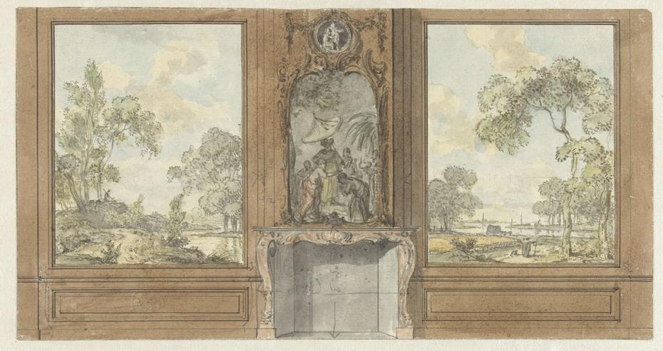 Ontwerp voor kamerwand met schoorsteenstuk van de Doop van de Kamerling