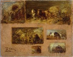 Panneau de six études de chariot (au recto) ; Paysage (au verso)