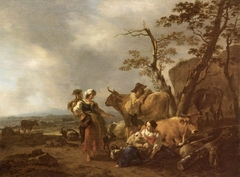 Pastoral Scene with Figures and Animals
