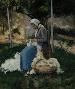 Peasant Woman Carding Wool