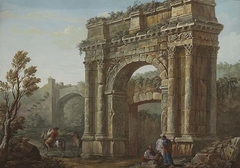 Peasants before the Arch of Sergius near Pola