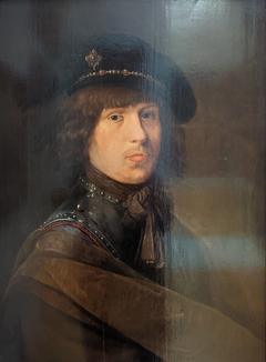 Portrait de l'artiste en cuirasse et coiffé d'un béret à plume