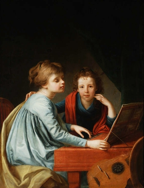 Portrait of Pechwell sisters at the clavichord.