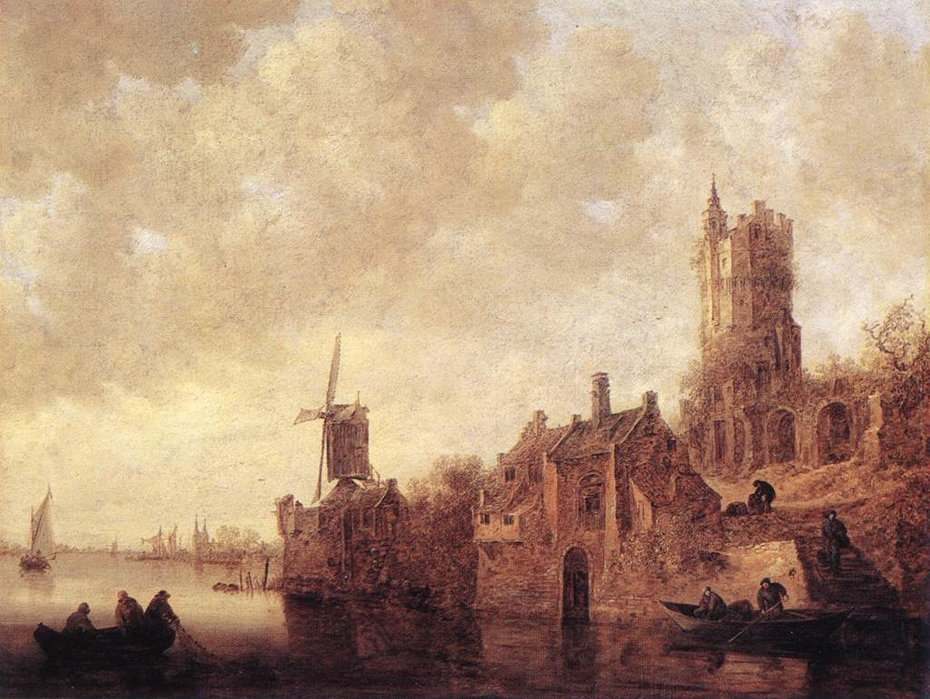 River Landscape with Windmill and Ruined Castle
