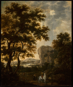 Rocky landscape with a horseman