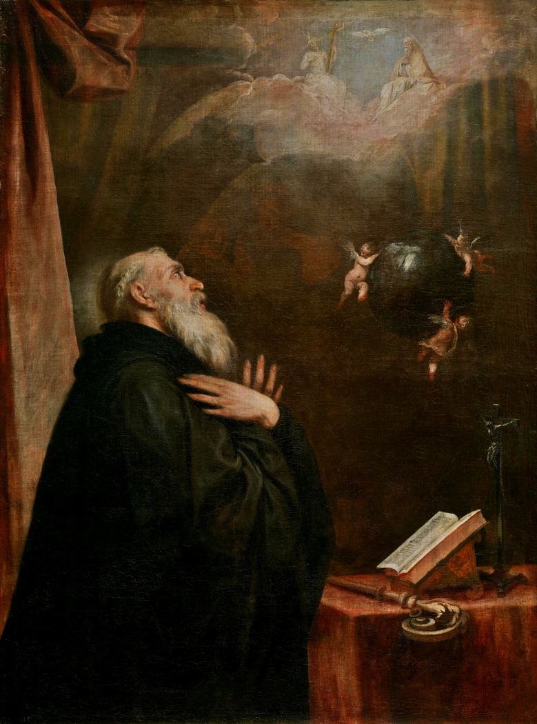 Saint Benedict's Vision of the Globe and the three Angels