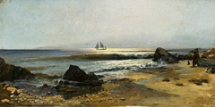 Seascape with a ship and fishermen on the shore.