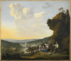 Southern landscape with a view of a bay, with travelers resting