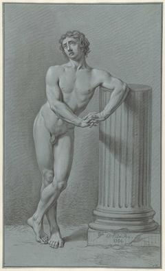 Staand mannelijk naakt, leunend tegen afgebroken zuil
