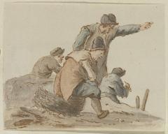 Staande wijzende man temidden van drie zittende mannen