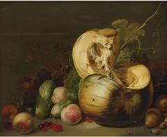 Still life with a pumpkin, peaches, grapes, cherries and other fruit