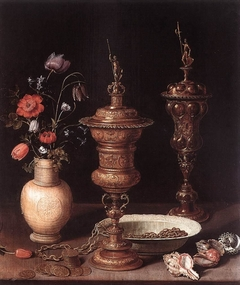 Still life with flowers and gilt goblets