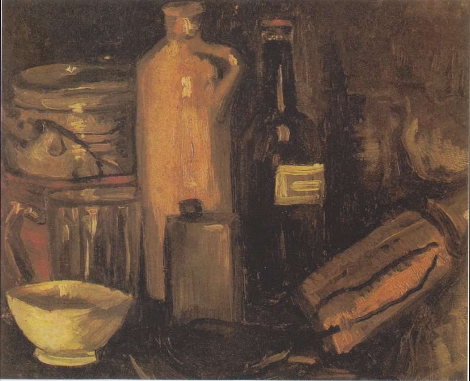 Still Life with Pots, Jar and Bottles