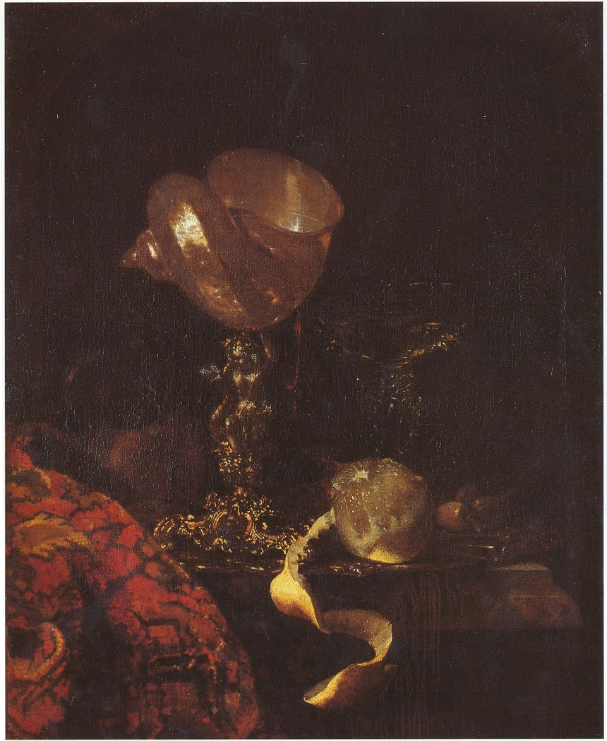 Still life with shell cup, glasses and a lemon