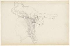 Studie van een liggende kat en een meisjeshoofd