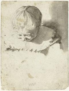 Studieblad met kop en schouders van een meisje, van bovenaf gezien