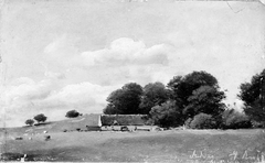 Study of Landscape with a Thatched Building in front of Tall Trees