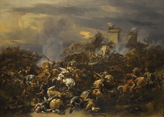 The army of Porus and its elephants are conquered by Alexander