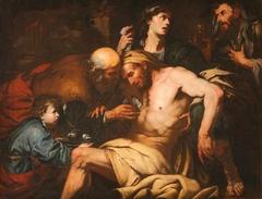 The Good Samaritan attending the Wounded Traveller at the Inn
