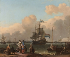The Y at Amsterdam, with the frigate 'De Ploeg'