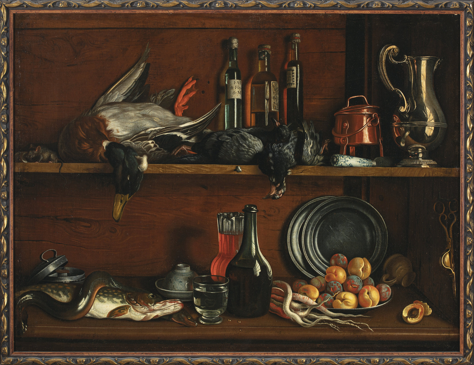 Trompe-l'oeil – cabinet in the pantry with wild fowls, fish and fruit