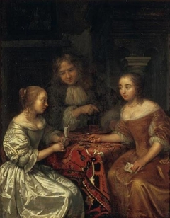 Two Ladies and a Gentleman discussing a Letter
