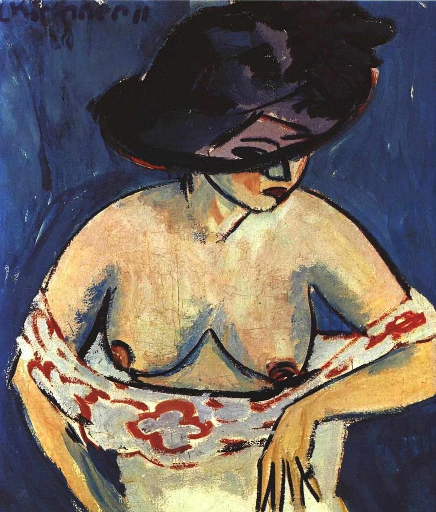 Weiblicher Halbakt mit Hut