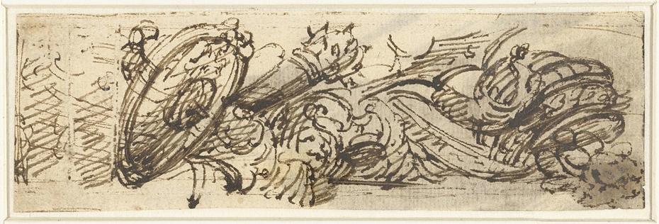Vignet met schild, knots en lans