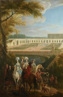 Vue du départ de la duchesse de Bourgogne pour la chasse devant l'Orangerie de Versailles