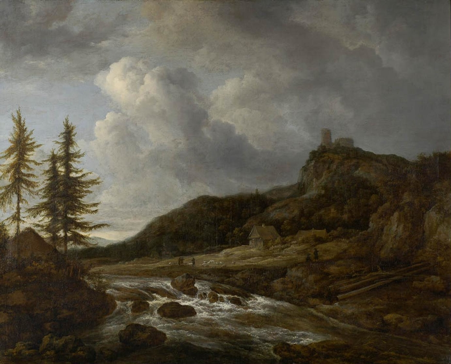 Waterfall with mountain top castle and cottage with figures along a road