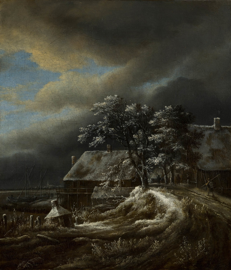 Winter landscape with a harbour