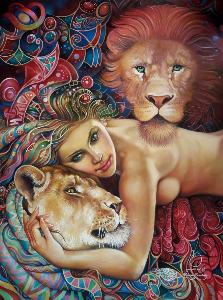Woman and lions