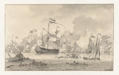 Zeeslag tussen een Nederlandse en een Engelse vloot