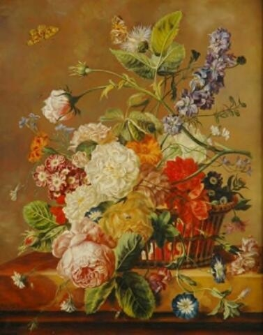A Basket of Flowers with a Butterfly